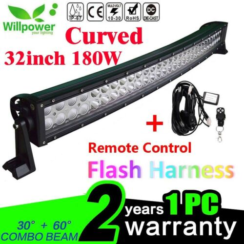 32inch Curved 180W LED Work Light Bar for Offroad SUV Jeep+Remote Wiring Harness