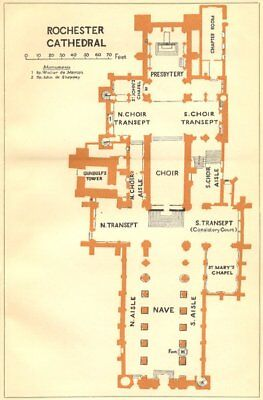 Kent Europe Maps Rochester Cathedral 1924 Old Vintage Map Plan Chart Art Prints
