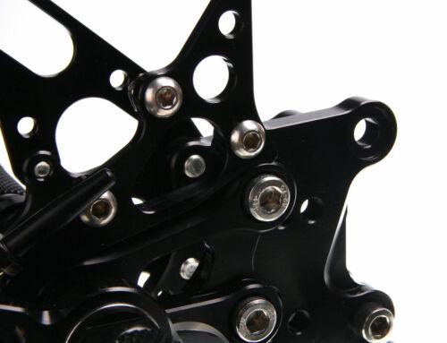 Alu CNC schwarz Fußrastenanlage Fußrasten für ApriliaRSV1000 R Factory 04-08 07