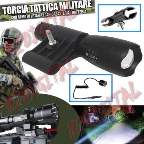TORCIA POLICE ATTACCO CANNA FUCILE 80000W CREE LED T6 POTENTE RICARICABILE ZOOM