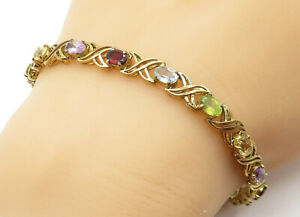 925-Sterling-Silver-Multi-Gemstone-Gold-Plated-X-Link-Chain-Bracelet-B6436