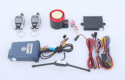 SPY 5000M LCD two way motorcycle alarm system W remote start & microwave sensor