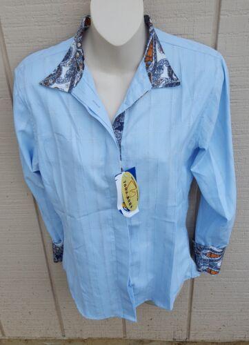 Neuf avec étiquettes ALTESSE ROYALE à manches longues bleu coolmax Snap Col Horse Show Shirt 38