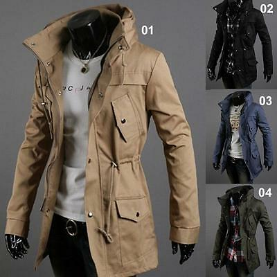 NEW Men's Warm Winter Korean Jacket Long Sleeved Wind Coats Stand Collar Gift RS