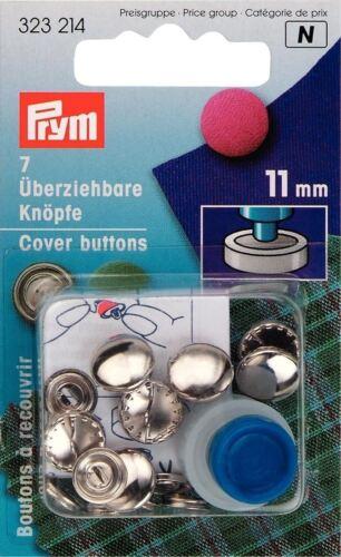 Prym 7 X 11mm cubierta de latón color plata botones con herramienta