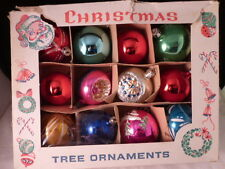 Box 12 Vintage Poland Glass Ball Ornaments Christmas Indent Fancy Stencil