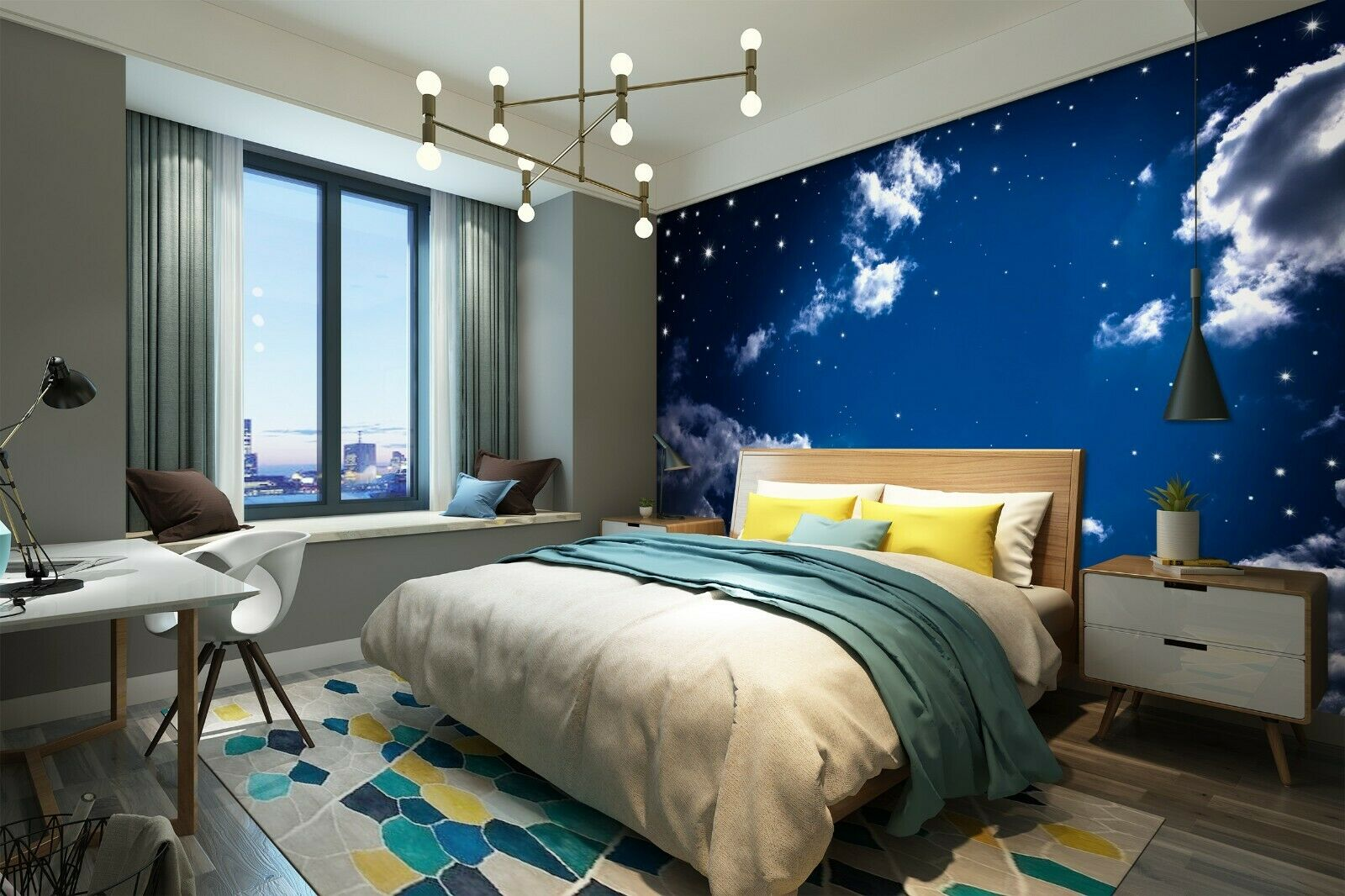 3D Night Starry Sky Clouds R1194 Wallpaper Wall Mural Self-adhesive Commerce Amy