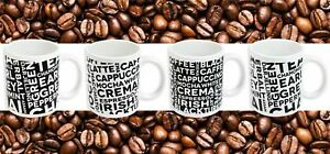 Set-of-4-Monochrome-Porcelain-Mugs-Tea-amp-Coffee-Lover-Typography-Kitchen-Cups