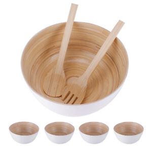 Salatschuessel-Salatschale-Salatbesteck-Holz-Bambus-Set-Suppenschuessel-weiss