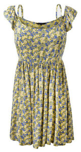 Womens-NEW-LOOK-Floral-Print-Cold-Shoulder-Summer-Dress-Size-6-8-10-12-14-16-18