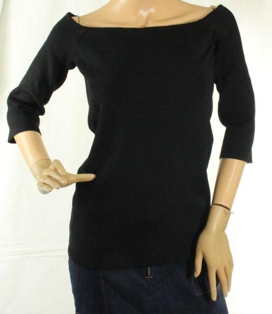 b6f5537c1f8816 Rachel Roy Women's Textured One Shoulder Black Blouse Size M Retail $89