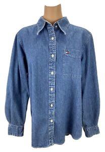 ea067480b26e Tommy Hilfiger Vintage Women Blue Denim Jean Shirt Long Sleeve 100 ...