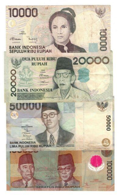 INDONESIA SET: 10000 20000 50000 100000 Rupiah (1998-1999) P-137 138 139 140 VF