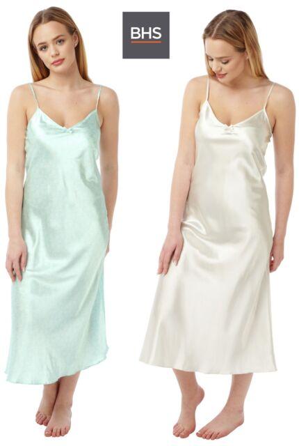 New Womens 2 Pack BHS Secrets Satin Nightwear Ladies Chemise Nightdress Nightie