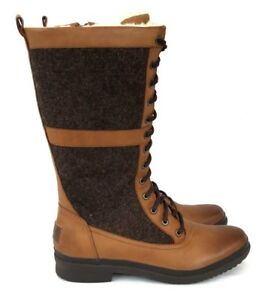 74b76d97c24 Ugg Elvia Women's Lace up Waterproof Leather and Wool Lining Rubber Sole  Boots