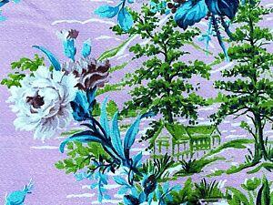 SALE! Pinky Pink & Aqua Roses Barkcloth Vintage Fabric Drape Curtain 1930's DIY