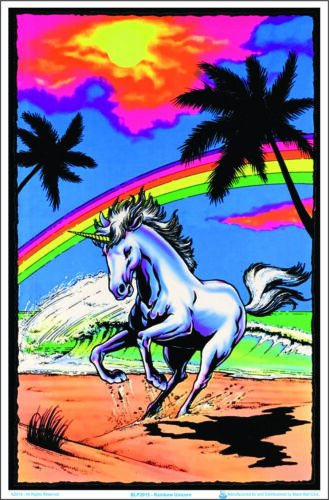 Blacklight Poster 23-by-35 Inches Galloping Unicorn with Rainbow