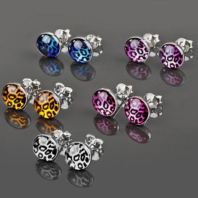 1 Paar Edelstahl Ohr Stecker Rockabilly Ohrringe Leo Leoparden Muster Z299