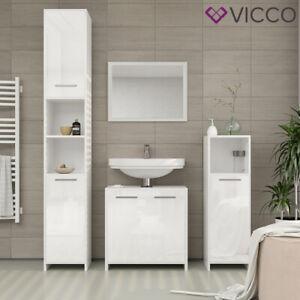 Kiko mobile bagno completo - bianco lucido specchio comò mobile bagno mobiletto