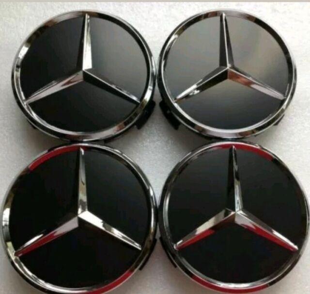 MERCEDES Benz ruota centro CAP 60mm Nero//Cromato Set di 4 HUB CAPS EMBLEM BADGE
