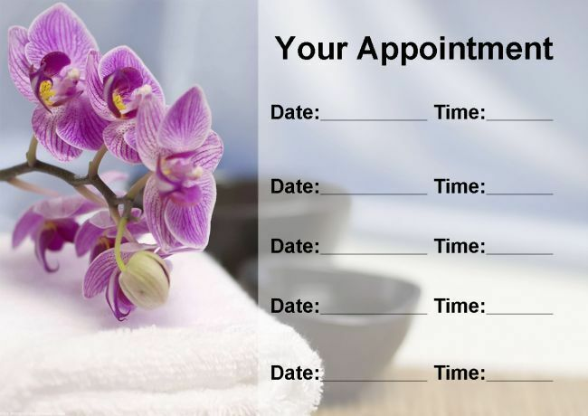 Beauty Salon Spa Treatment Massage lila Flower Personalised Appointment Cards