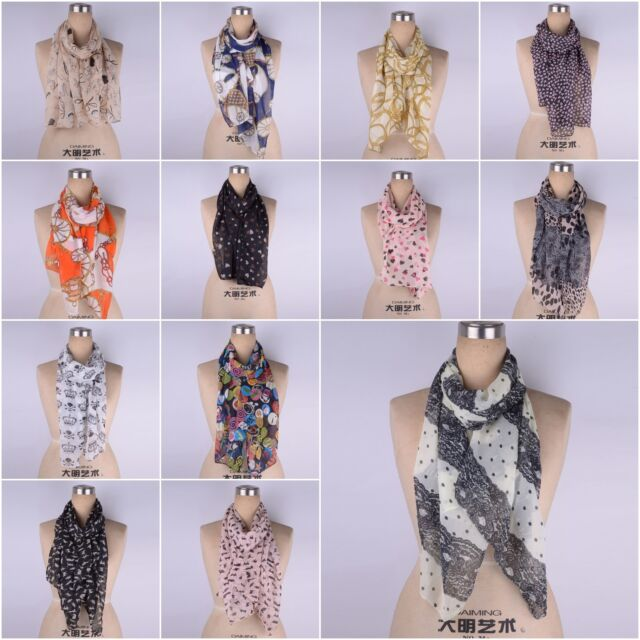 Womens Chiffon Leopard Print Neck Shawl Soft Scarf Scarves Wrap Stole Warm Gift