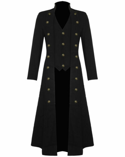 Women/'s Cotton Twill Steampunk Jacket Goth Victorian//Military Style Trench Coat