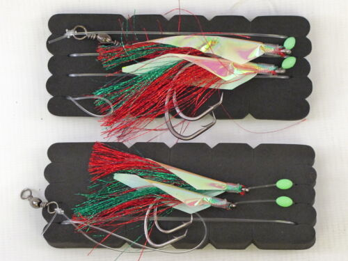 80lbs Line /& 6//0 55lbs Line 2 Fladen Deep Sea 2 Hook Fishing Rigs Size 10//0