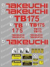 Decal Sticker Set Takeuchi Tb175 Mini Digger Pelle Bagger Excavator