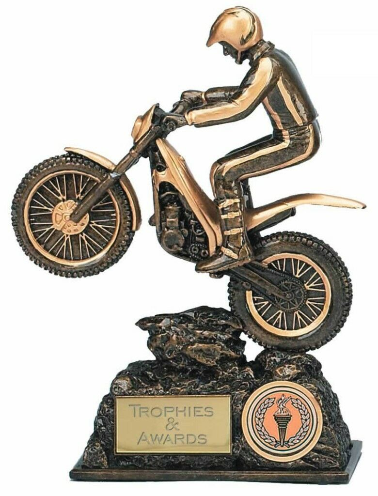 MOTOCROSS Enduro Trials Bike Trophy FREE ENGRAVING 2 Sizes 7.5  or 9.5  Award