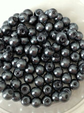6mm Glass faux Pearls - Charcoal Grey (100 beads) jewellery making