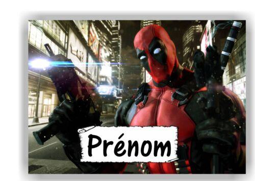 bois Deadpool avec prénom   N° 127 Plaque de porte en sur