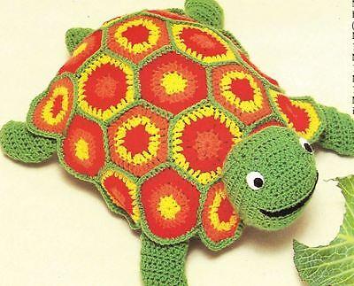 Crochet Pattern Colourful Tortoise Toy Cushion