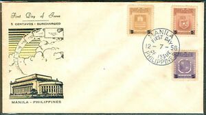 1956-Philippines-5-CENTAVOS-SURCHARGED-First-Day-Cover