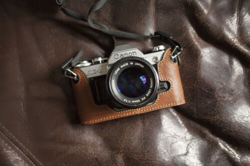 Genuine Real Leather Half Camera Case Bag Cover for Canon AE-1 Yellow Brown