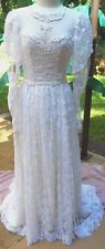 "Graceful Pearl Studded Victorian Look Wedding Gown w/Bridal Cap & Veil 34b, 25""w"