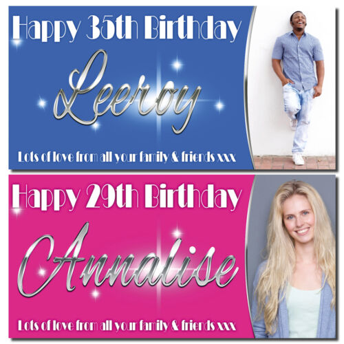 Personalised party banner banners for parties photo posters birthday celebration