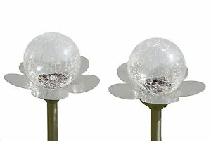 2-Large-Garden-Crackle-Orb-Colour-Changing-Solar-Light-Stainless-Steel-amp-Glass