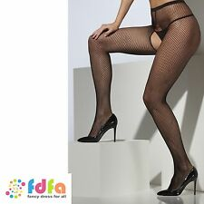 BLACK CROTCHLESS FISHNET TIGHTS PANTYHOSE ladies womens fancy dress hosiery