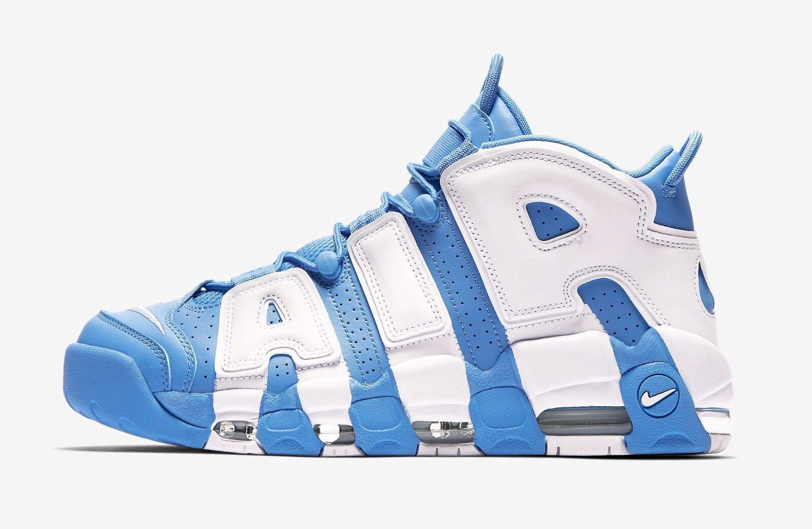 2017 Nike Air More Uptempo size 7.5. UNC White University Blue. 921948-401.