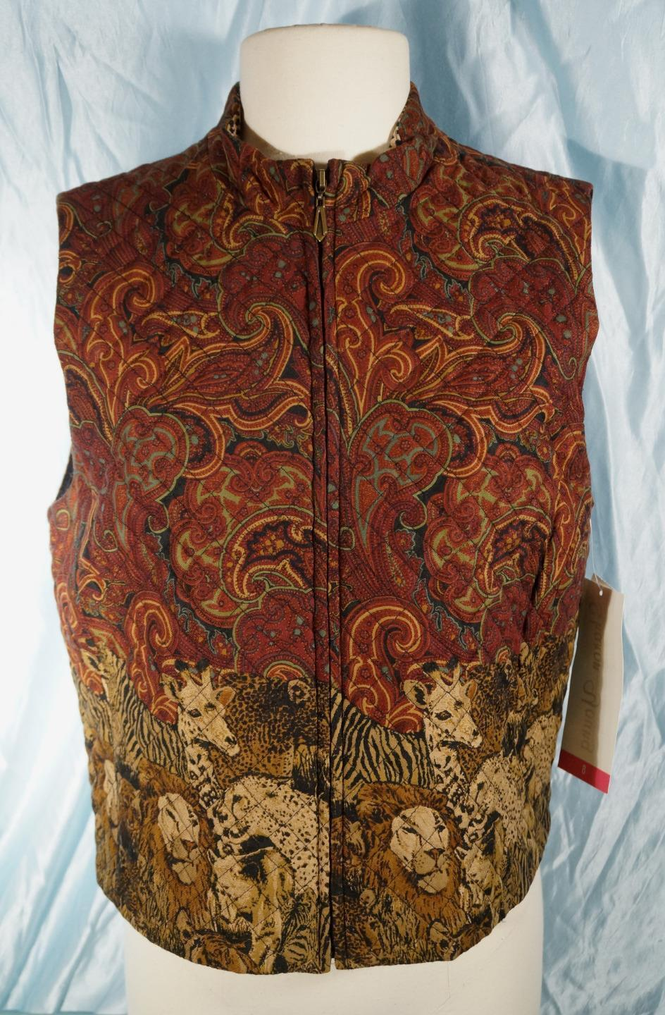 New Wine Based Multi-colord SHARON YOUNG Paisley African Wildlife Vest Sz L
