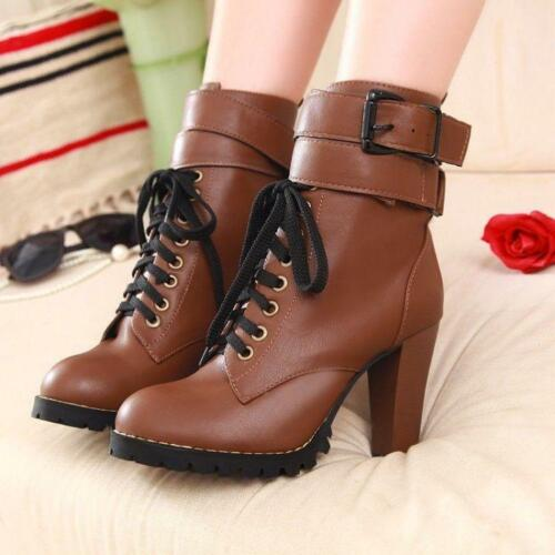 British Ladies Womens Ankle Boots Lace Up Punk Retro Riding Knight Shoes Booties