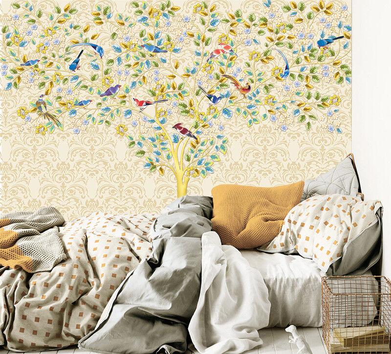 3D Baum Vogel Muster 8983 Tapete Wandgemälde Tapeten Bild Familie DE Jenny