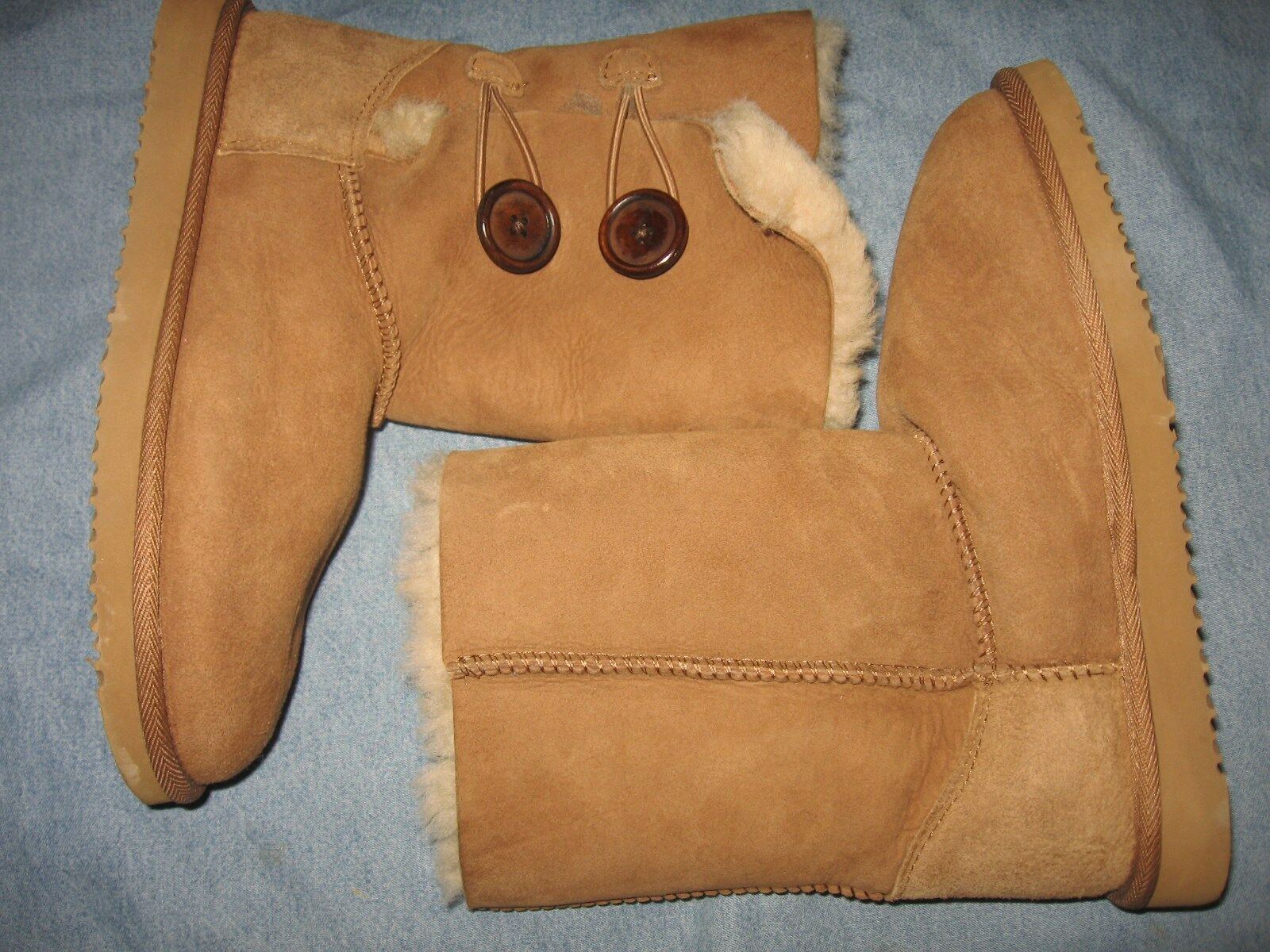 WOMENS 6   37 COZIE STEPS TAN SUEDE GENUINE SHEEPSKIN FUR WINTER 2 BUTTON BOOTS
