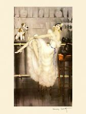 Icart Fashion Deco Lady White Dress Flowers Fine Art Reproduction FREE S//H