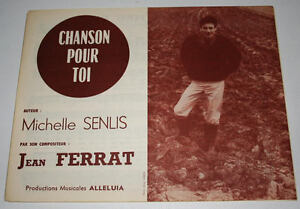 Partition vintage sheet music JEAN FERRAT : Chanson Pour Toi * 60's Rare - France - Type: Partition Genre musical: Chanson, Variété franaise Instrument: Chant, Piano - France