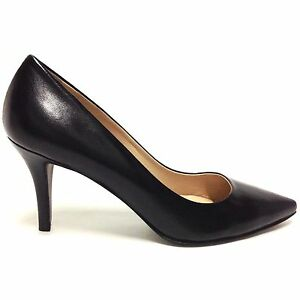 Decollete-scarpe-donna-a-punta-tacco-medio-decolte-nero-vera-pelle-made-in-italy