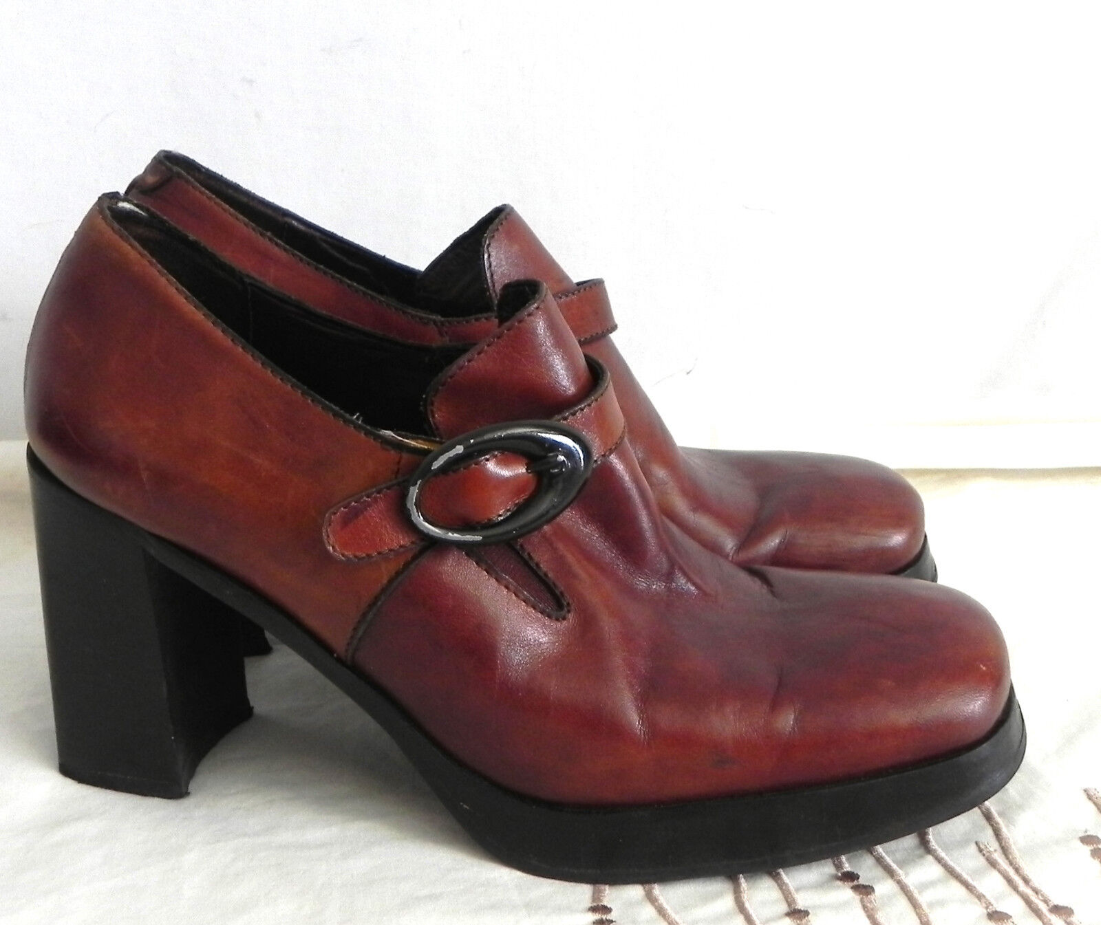 Altariva Heels Hand Made Roma Brown Leather Size 37.5(US 7)