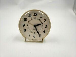 Westclock West Clock Windup Alarm Clock Art Deco White Beige MCM  WORKS
