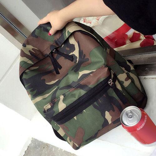 UK Womens Mens Canvas Camo Travel Backpack Satchel Rucksack Laptop School Bags